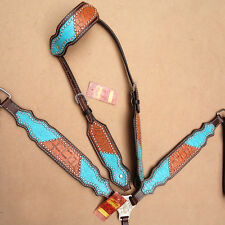 HILASON WESTERN LEATHER HORSE ONE EAR HEADSTALL BREAST COLLAR TURQUOISE BROWN