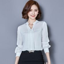 Retro Women Career OL Shirt Long Sleeve Casual Chiffon Blouse Loose Shirt Tops
