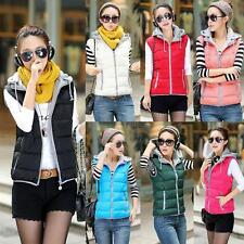 Fashion Womens Hooded Down Cotton Vest Winter Warm Jacket Zipper Padded Coat