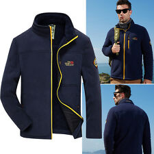 Mens Outdoor Casual Fleece Jacket Full Zip Thicken Sports Coat Outwear Plus Size