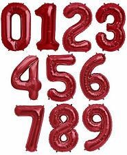 """NEW 34"""" Red Number Balloons Happy Birthday Wedding New Years Party Graduate"""