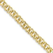 14k Yellow Gold 7in 8.5mm Solid Double Link Charm Bracelet DOH20