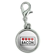 Antiqued Bracelet Pendant Charm with Lobster Clasp Food Drink Bacon Coffee