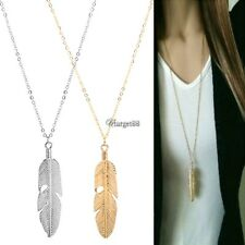 Women Feather Pendant Long Chain Necklace Sweater Statement Vintage Jewelry UTAR
