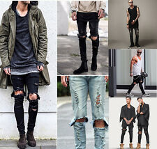 Mens Ripped Skinny Pants Distressed Stretch Denim Straight Boys Moto Biker Jeans