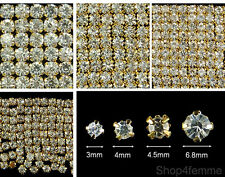 Selections of Sew On Clear Crystal Diamante Rhinestones (Gold Color Rose Montee)