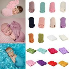 Newborn Baby 3D Rose/ Knit Stretch Wrap Photo Photography Props Baby Blanket