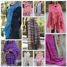 Sale New Vintage Colorful Hand-knitted Cashmere Wool Soft Warm Wrap Shawl Scarf