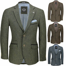 Mens Vintage Tweed Blazer in Tan Green Blue Designer Formal Slim Fit Suit Jacket