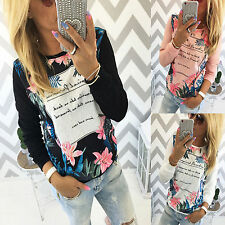 Women Ladies Floral Print T-shirt Long Sleeve Blouse Crewneck Fall Jumper Top