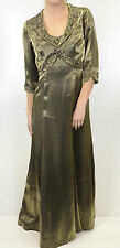 NWT Alex Evenings Rose Beaded Green Shine Mother of Bride Dress Crop Jacket Set