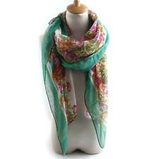 Women Voile Floral Printed Edge Scarf Shawl Wrap Large Elegant Country Style