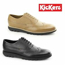 Kickers KYMBO BROGUE Mens Smart Office Leather Lace Up Wingtip Oxford Shoes