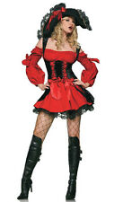 HALLOWEEN Red Ladies Sexy Caribbean Pirate Swashbuckler Costume Fancy Dress