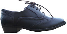 Ladies Girls Truffle Black Leather look lace up Brogue shoes -Black