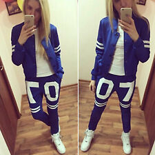 Womens Casual Sweatshirt Top Trouser Set Letter Print Tracksuit Running Sport