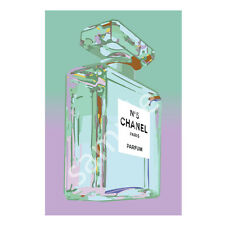 Chanel No.5 No5 Perfume Bottle Art Print Poster Canvas Teal and Purple (pint)