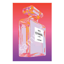 Chanel No.5 No5 Perfume Bottle Art Print Poster Canvas in Red Pink Purple (pint)