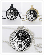 Cabochon Hot Silver Chain Tibet Yin Yang Alloy Pendant Necklace Glass Flower