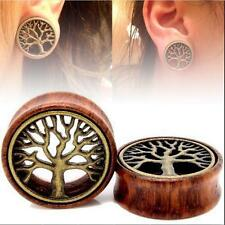 BRASS TREE TUNNELS-FLESH 2016 PAIR-WOOD GAUGES-EAR OF LIFE EAR TUNNELS-EAR PLUGS