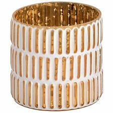 Hill Interiors Gold And White Patterned Tealight Candle Holder