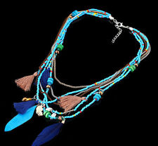 Statement Gifts Feather Pendants Jewelry Necklaces Women Collares Beads Chain