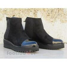 Shoes Blu Byblos 6670Q2 001 Woman Leather Black Ankle Boots Micro Studs Made in