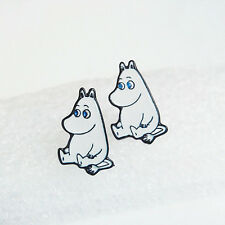 NEW MOOMIN ENAMEL SILVER STUD EARRINGS MOOMINTROLL