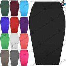 Womens Jersey Stretchy Ladies Pencil Plain Office Bodycon Skirt Plus Sizes 8-26