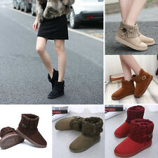 Womens Fashion Winter Warm Knitted Snow Boots Slip On Casual Comfy Ankle Shoes