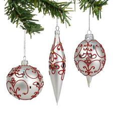 Department 56 Nutcracker Suite Set of 3 White and Red Glitter Ornaments 4035675