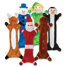 Festive Unstuffies Stuffing Free Dog Toys Christmas Holiday Character + Squeaker