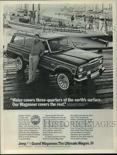 1983 Press Photo Dennis Conner poses with a Jeep Grand Wagoneer for an ad