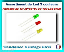 *** LOT DE 15*30*60*90 OU 120 LED 5MM DIFFUSANTES / 3 COULEURS ASSORTIES ***