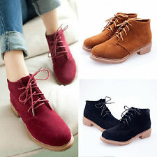 Ladies Motorcycle Boots Low Heel Flat Platform Ankle Bootie Lace Up Shoes US4-8