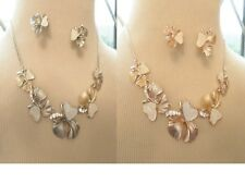 JCUK Costume Jewellery Autumn Leaves Necklace Drop Earrings Set Enamelled Alloy