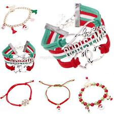 Women Xmas Candy Glass Beads Charming Stocking Santa Claus Deer Bracelet New M17