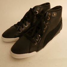 Puma Corsica Leather Women's Mid Tops Black Lined New £34.99