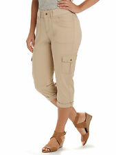 LEE Womens Capri Cargo Pants Solid Relaxed fit size 6 8 10 14 14P 16 18 16W NEW