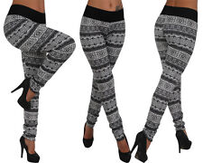 Leggings Stirrup pants Stretch Trousers Thermo Jeggings Treggings Aztec Pattern