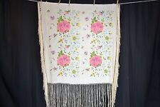 shawl embroidered throw piano silk 50 in. lg white pink blue antique