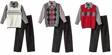 Van Heusen Boys Sweater Vest Set 3-piece cotton polyester kids sizes 4 5 6 7 NEW