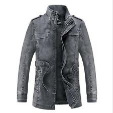 Men's PU Leather Jacket Motorcycle Long Trench Coat Winter Overcoat PARKA Warm