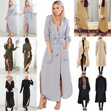 Womens Waterfall Jacket Cardigan Long Sleeve Kaftan Tunic Trench Tops Coat Dress