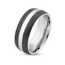 stainless steel Unisex Ring silver black Cross Etched Line with Center Striped