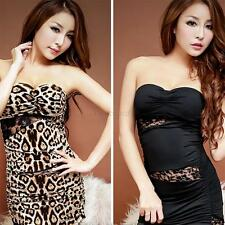 Women Sexy Off-Shoulder Party Club Cocktail Short Mini Dress Leopard Babydoll