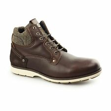 Wrangler GROVE Mens Leather Tweed Lace Up Comfort Winter Ankle Boots Mahogany