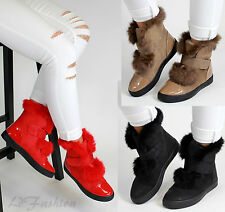 New Womens Suede Look Hi Top Trainers Patent Panels Ladies Winter Ankle Boots
