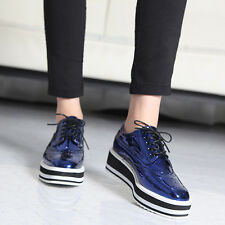 Womens Shiny Platform Oxford Loafers Creeper Shoes / Black, Blue, Gold, Silver
