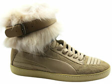 Puma AMQ Joustesse Mid Womens Buckle Trainers Beige Leather 353871 03 D48